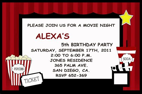 printable movie invitation templates movie party invitations theruntime com