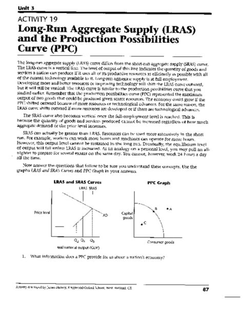 Production Possibilities Curve Worksheet Answers by Worksheets Production Possibilities Curve Practice