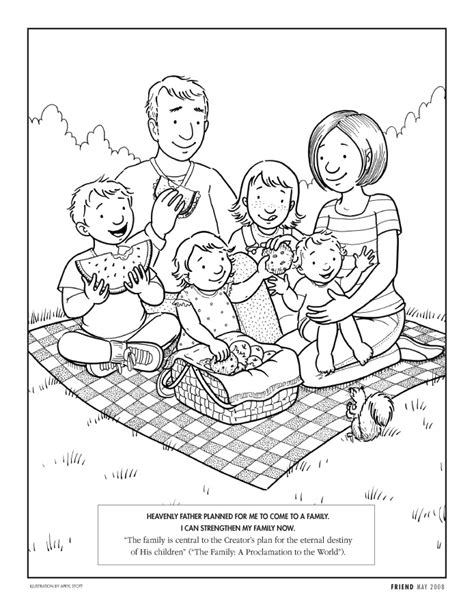 coloring page of family family coloring page lds lesson ideas