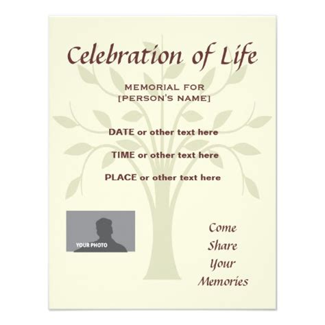 personalized a celebration of life invitations