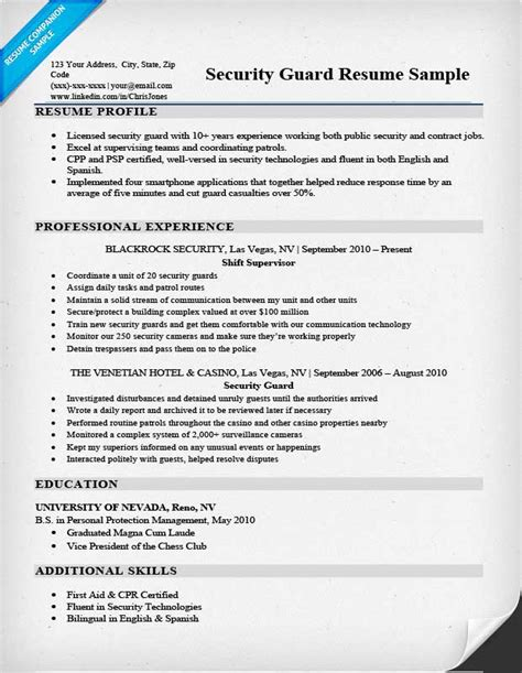 basic resume format for security guard security guard resume sle writing tips resume companion