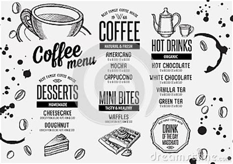 Coffee Menu Placemat Food Restaurant Brochure And Cafe Template Design Stock Vector Image Placemat Menu Templates