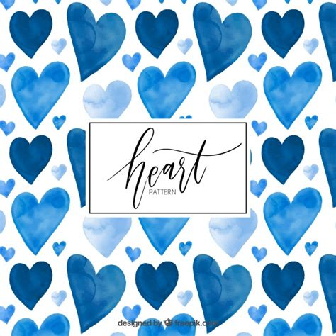 pattern blue heart watercolor blue hearts pattern vector free download