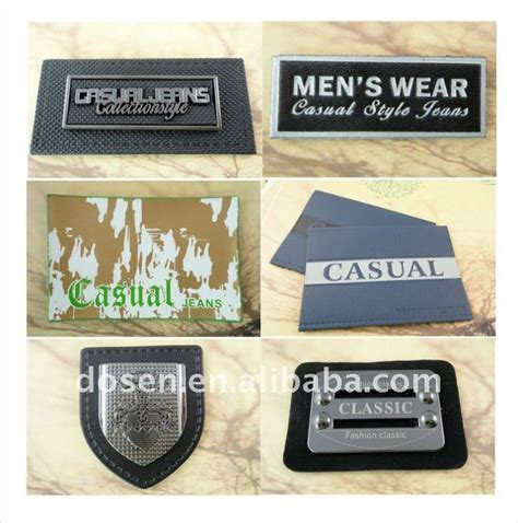 Celana Rikela Emboss casual real leather label logo laser out triangle shape metal plate wholesale
