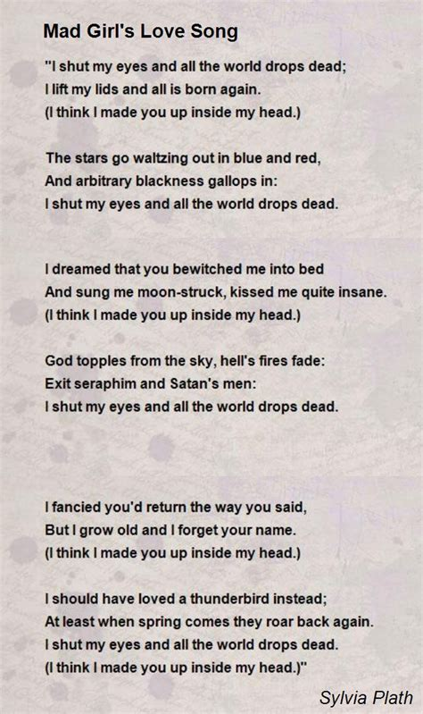 song poem mad s song poem by sylvia plath poem