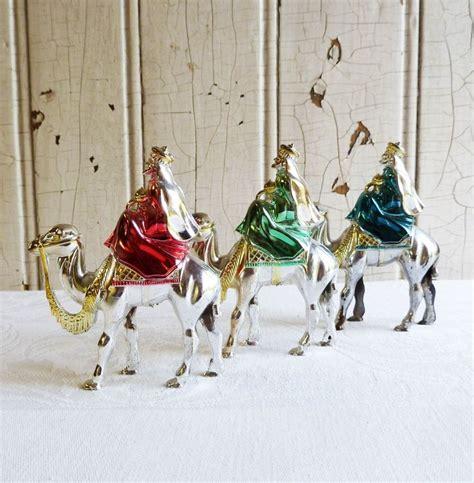 three bradford silver plastic wise men christmas ornaments