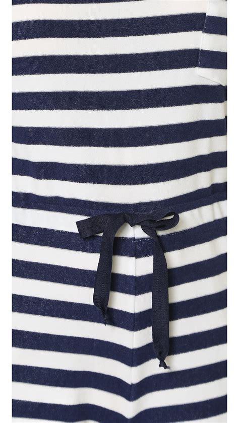 White Strif Navy solid striped the romper navy white stripe in blue navy white stripe lyst