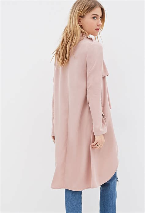 Fashion Find Front Drape Jacket by Lyst Forever 21 Longline Draped Open Front Jacket In Pink