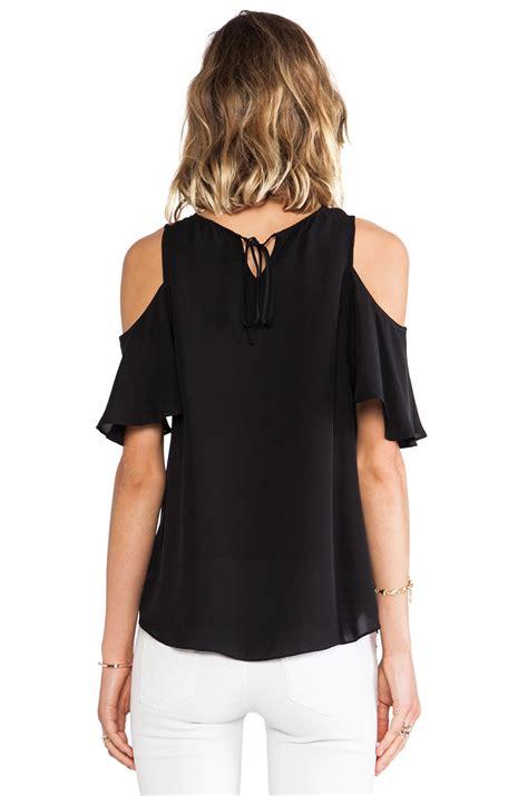 cold shoulder sleeve top lyst flutter sleeve cold shoulder top in black