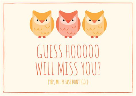 going away card template owl miss you going away card templates by canva