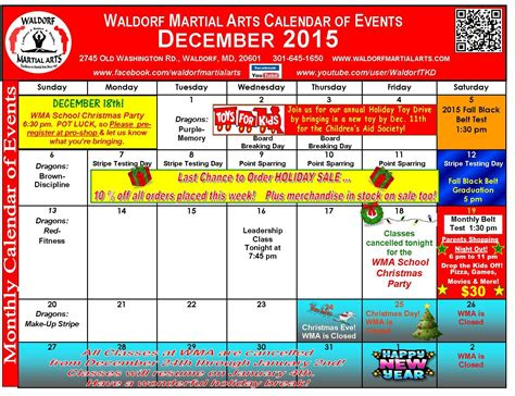 Calendar Events 2015 Calendar Of December 2015 Events Calendar Template 2016