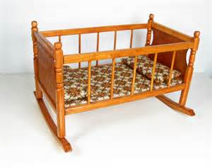vintage cass company wood doll cradle bed