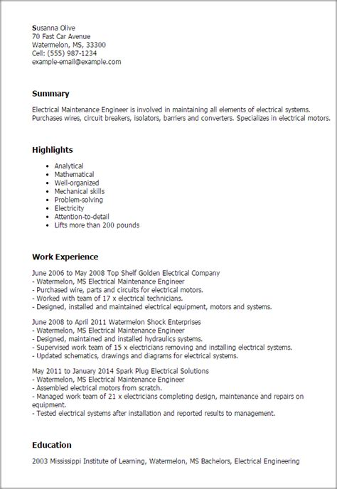 Electrical Engineering Resume Summary Sles professional electrical maintenance engineer templates to