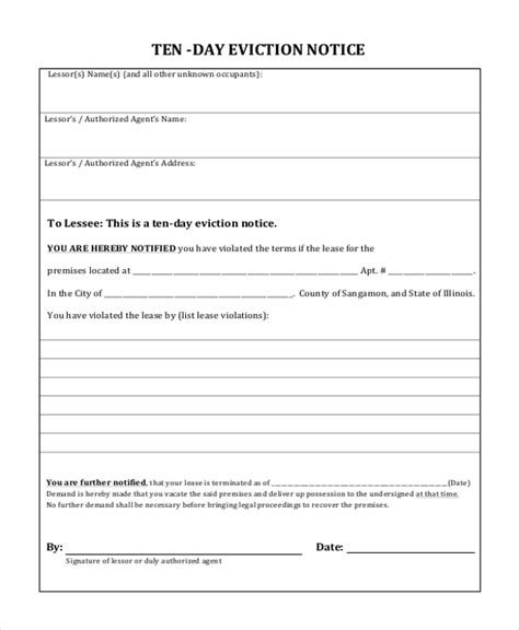 Sle Eviction Notice Form 8 Free Documents In Pdf Doc Eviction Notice Illinois Template