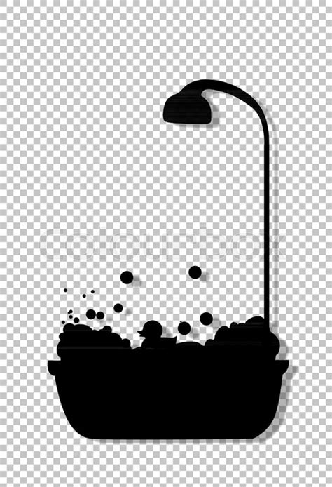 Black silhouette of bathtub with | Stock Vector