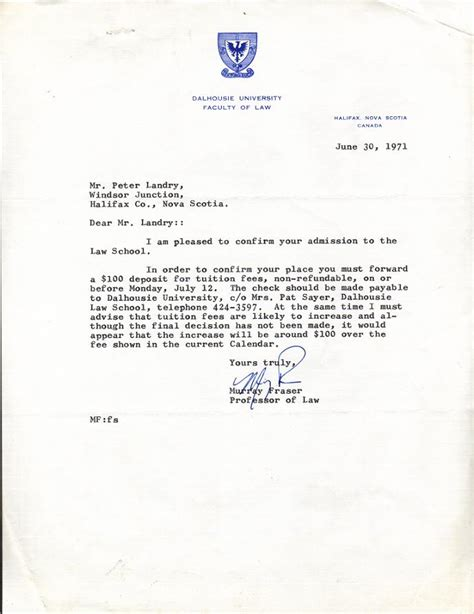 College Acceptance Letter With Scholarship Memoirs Or Shadows Of What Has Been School 1971