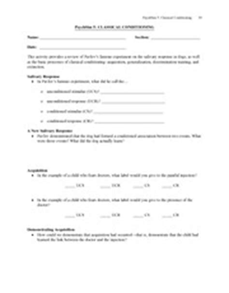 Classical Conditioning Worksheet Answers by Classical Conditioning Worksheet Lesupercoin Printables