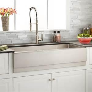 stainless steel farmhouse sink 42 quot optimum stainless steel farmhouse sink beveled apron kitchen