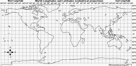 printable world map with longitude and latitude latitude and longitude