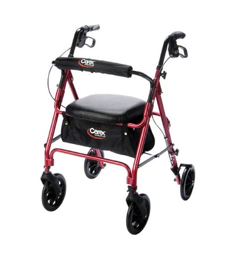 rollator walker with seat and brakes carex roller walker with brakes and padded seat single or