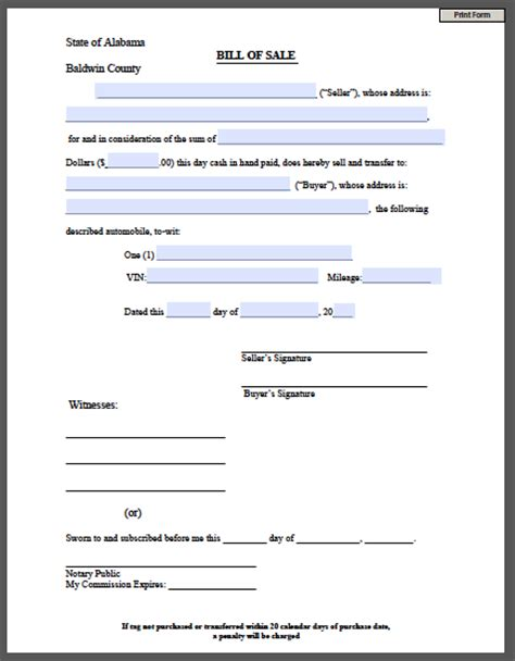 search results for free printable bill sale form for car