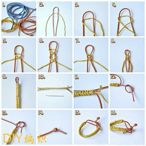 Hemp Braiding Techniques - 橡皮绳手链怎么编 橡皮绳手链 橡皮绳怎么编手链 橡皮绳手链编法 diyym
