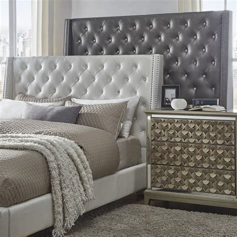 aurora faux leather crystal tufted nailhead wingback