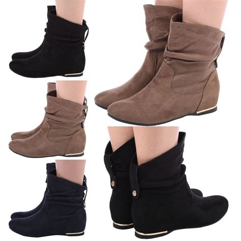 womens ankle boots low heel womens flat slouch low heel wedge ankle boots shoes