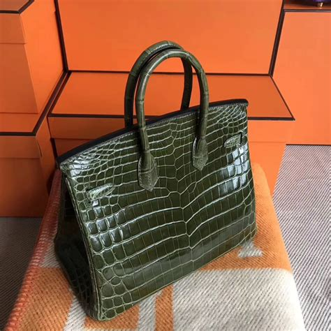 Ut1402 Glossy Green Handbag luxury hermes 6h olive green shiny crocodile leather birkin25cm tote bag hermes crocodile