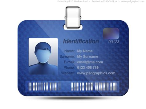 blue id card template name tag icon blue identification card psd psdgraphics