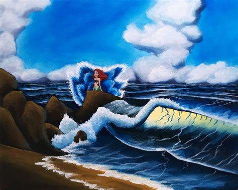 bob ross painting waves ariel s wave bob ross style mermaid painting