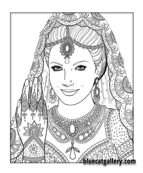 indian face coloring page color me beautiful women of the world coloring book