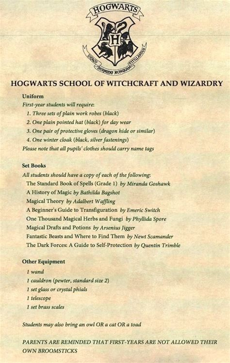 Hogwarts Acceptance Letter Supply List Hogwarts Supply List Related Keywords Suggestions Hogwarts Supply List Keywords