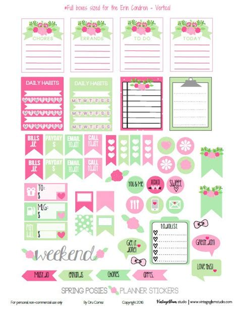 printable life planner stickers spring posies planner stickers free printable planner