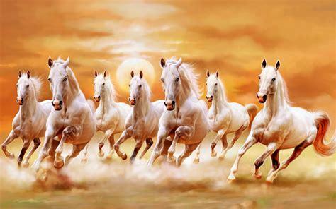 Wall Mural Painting beautiful white horses galloping orange sunset sky ultra