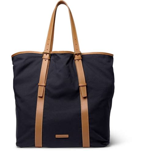 Tote Bage paul smith kenver leather trimmed canvas tote bag s bags