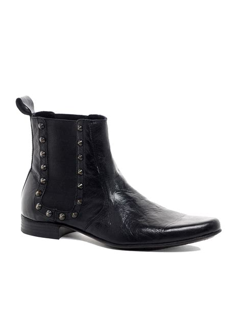 asos chelsea boots mens asos chelsea boots with studs in black for lyst
