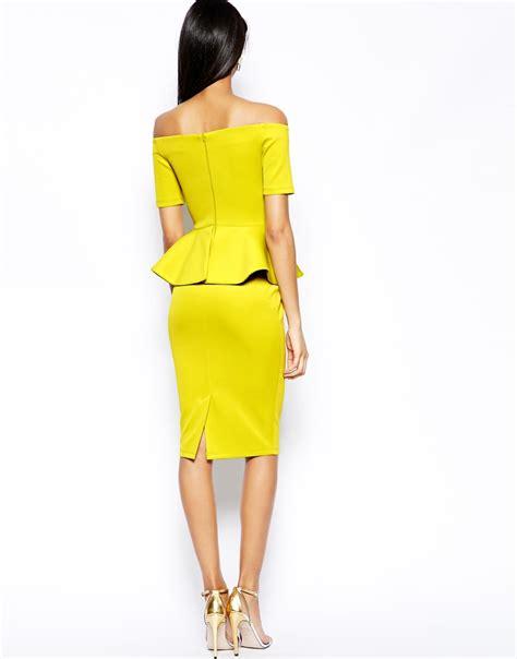 evening dresses dress with peplum hem and lace inserts lyst asos bardot peplum hem midi dress in yellow