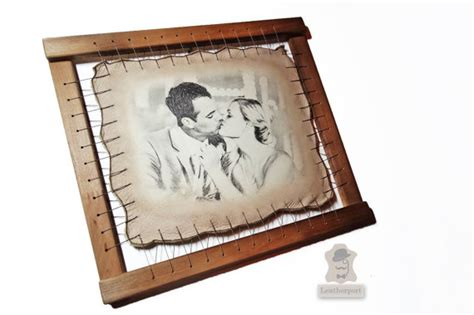 buy leather photo frame gift leather wedding anniversary gift three years custom by leatherport