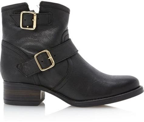 steve madden tiara gold buckle low boots in black black