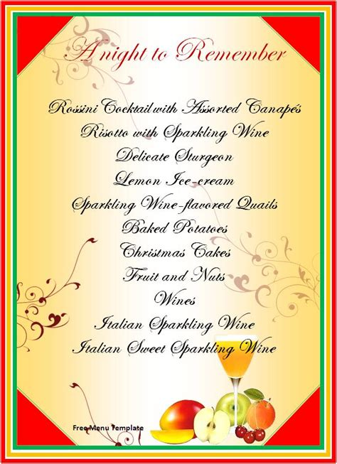 sle menu cards templates menu templates free new style for 2016 2017