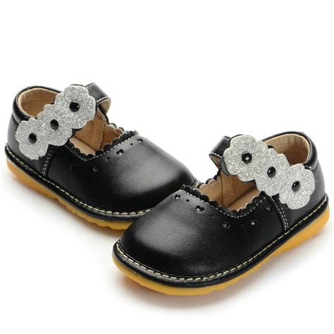 black with sliver flowers baby squeaky shoes size 3 4 5 6 7 8 9 soft toddler dress shoes