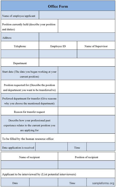 Office Form Template Sle Forms Office Templates