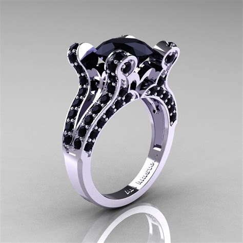 Verlobungsring Besonders by Vintage 14k White Gold 3 0 Ct Black Pisces