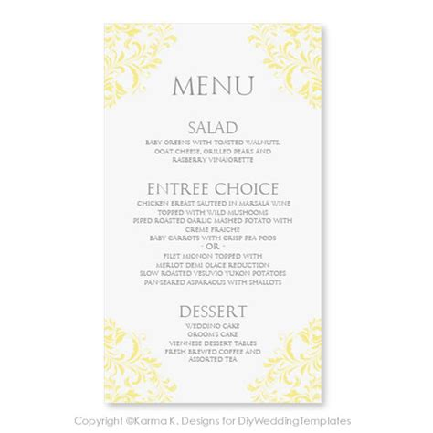 menu card wedding template wedding menu card template instantly edit