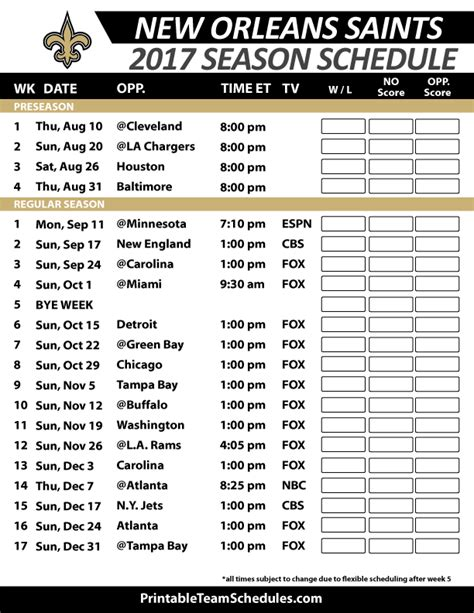 printable saints schedule 2015 new orleans saints season schedule new orleans saints