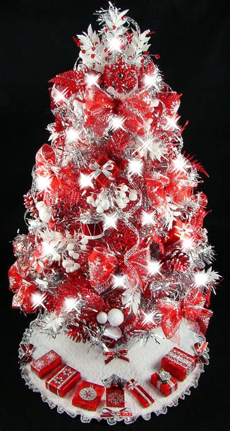 mini tabletop christmas tree red silver by