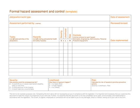 formal risk assessment template formal risk assessment template image collections free