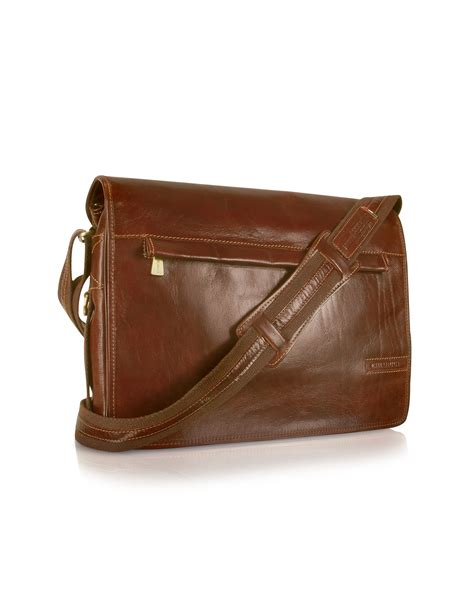chiarugi handmade brown genuine leather messenger bag in
