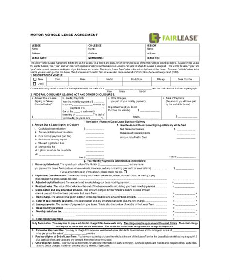 commercial vehicle lease agreement template commercial lease agreement 10 free pdf word documents